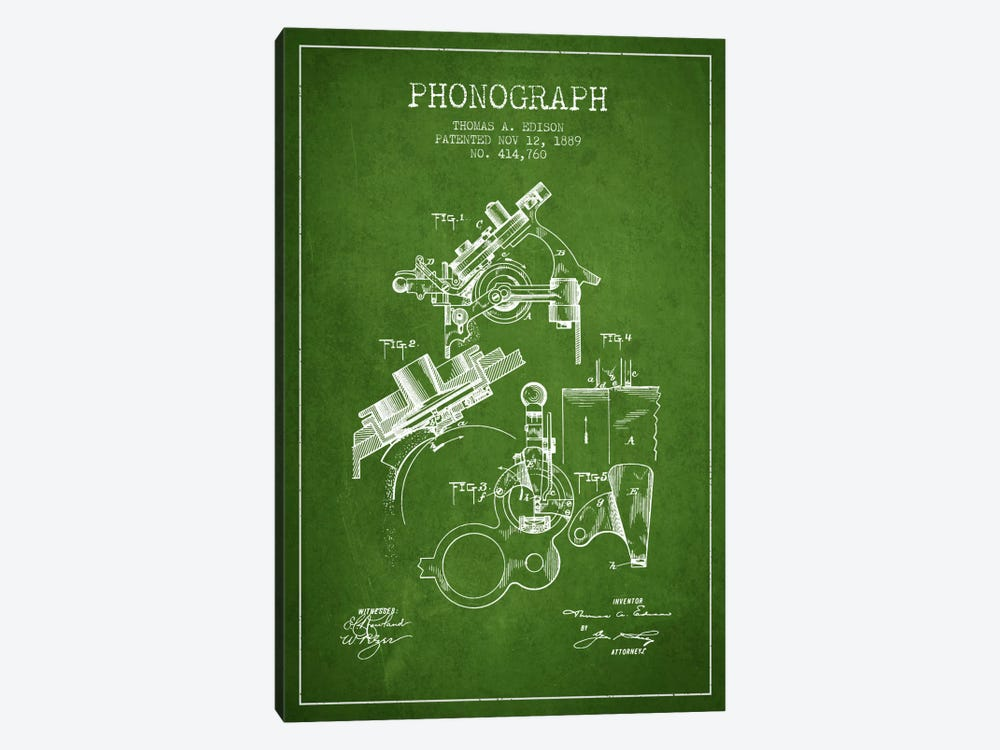 Phonograph Green Patent Blueprint by Aged Pixel 1-piece Canvas Art Print