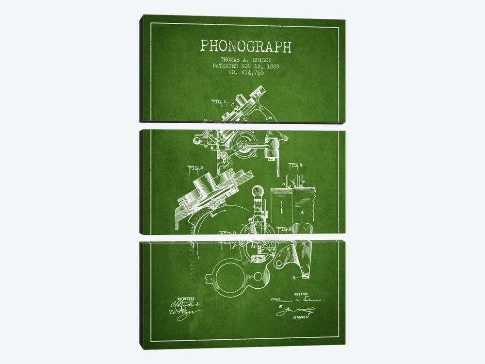 Phonograph Green Patent Blueprint by Aged Pixel 3-piece Art Print