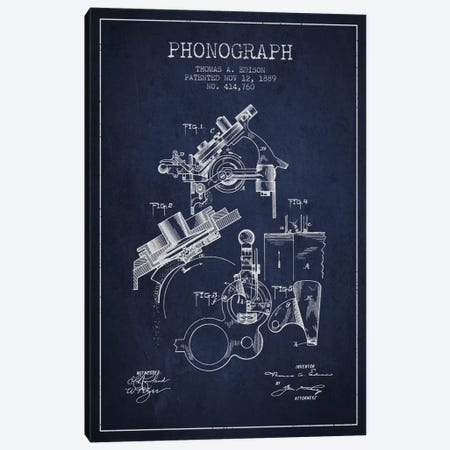 Phonograph Navy Blue Patent Blueprint Canvas Print #ADP603} by Aged Pixel Canvas Art Print