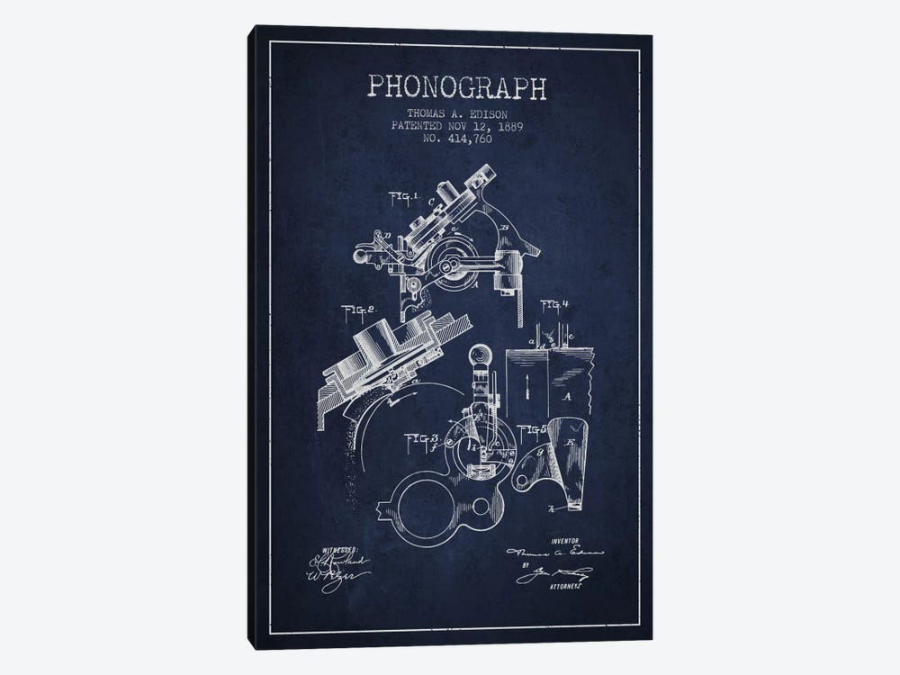 Phonograph Navy Blue Patent Blueprint by Aged Pixel 1-piece Canvas Art
