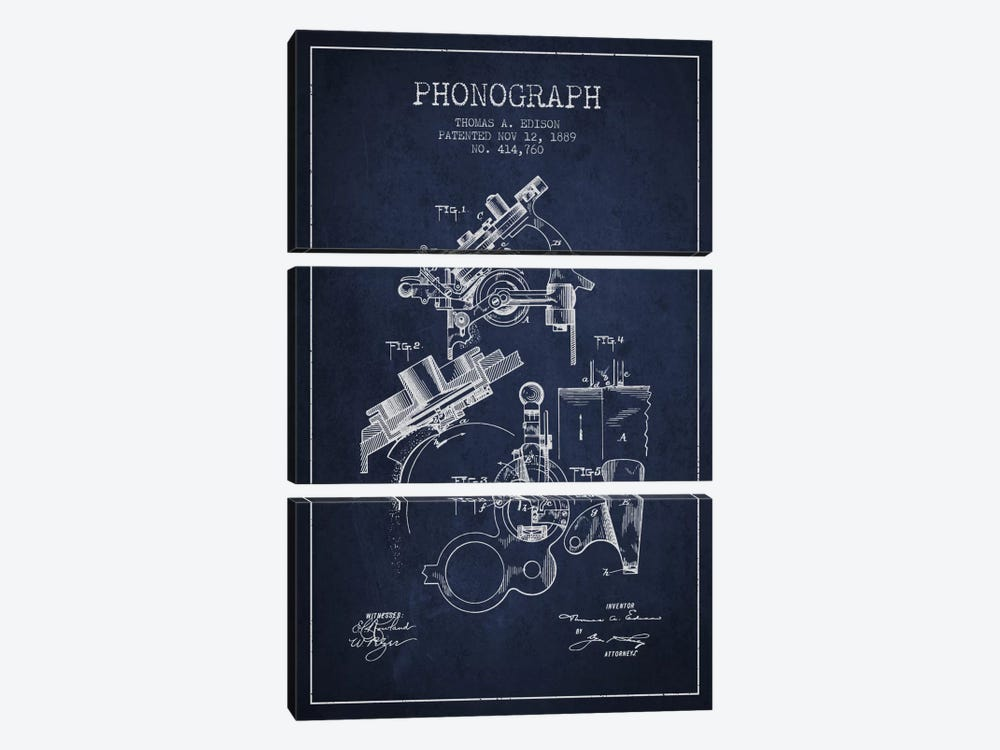 Phonograph Navy Blue Patent Blueprint by Aged Pixel 3-piece Canvas Wall Art