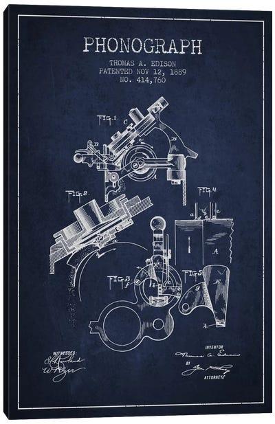 Phonograph Navy Blue Patent Blueprint Canvas Art Print