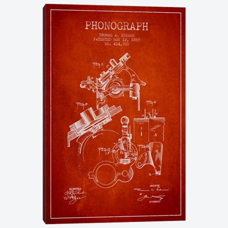 Phonograph Red Patent Blueprint Canvas Print #ADP604} by Aged Pixel Canvas Wall Art