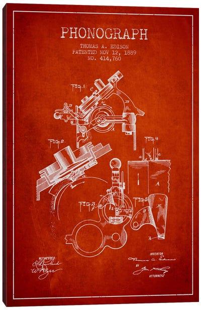 Phonograph Red Patent Blueprint Canvas Print #ADP604