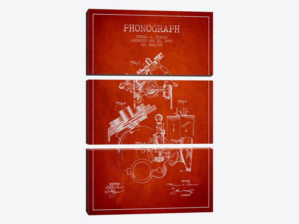 Phonograph Red Patent Blueprint by Aged Pixel 3-piece Art Print
