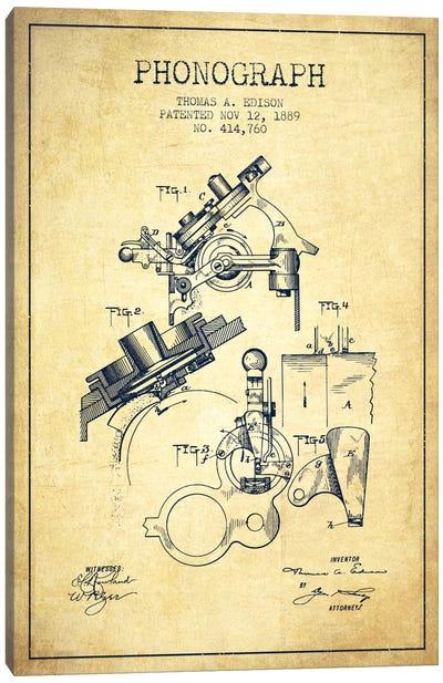 Phonograph Vintage Patent Blueprint Canvas Print #ADP605