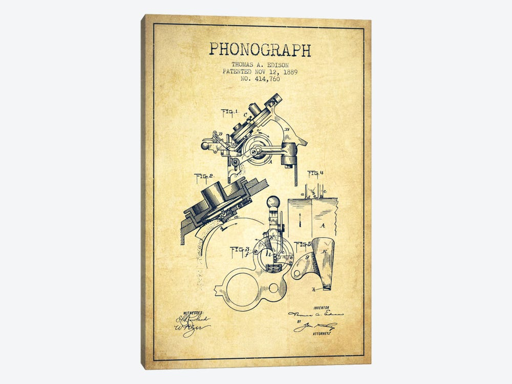 Phonograph Vintage Patent Blueprint 1-piece Canvas Art