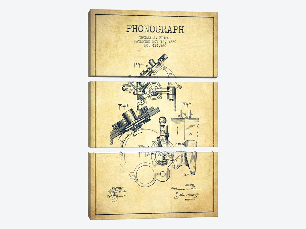 Phonograph Vintage Patent Blueprint 3-piece Canvas Art