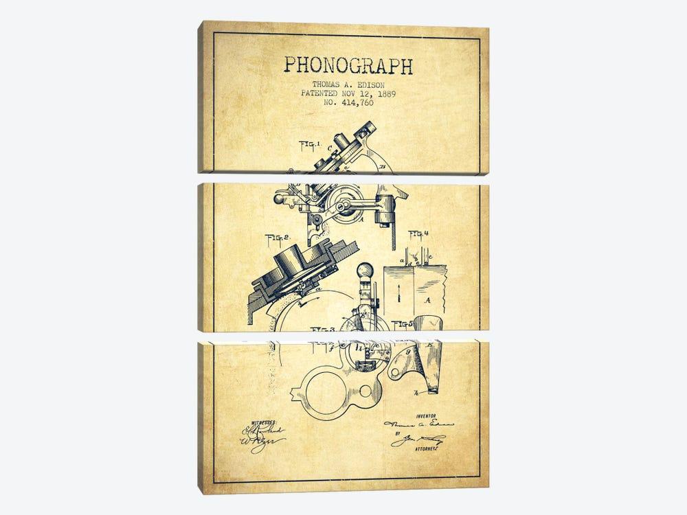 Phonograph Vintage Patent Blueprint by Aged Pixel 3-piece Canvas Art