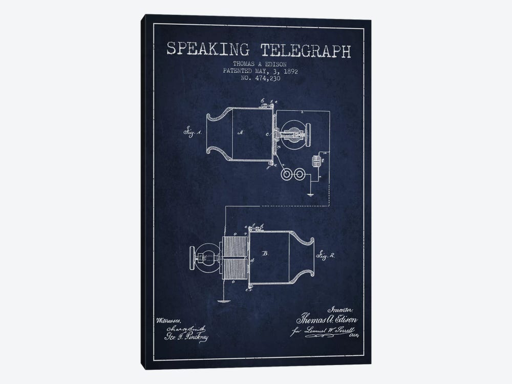 Speaking Tele Navy Blue Patent Blueprint by Aged Pixel 1-piece Canvas Print