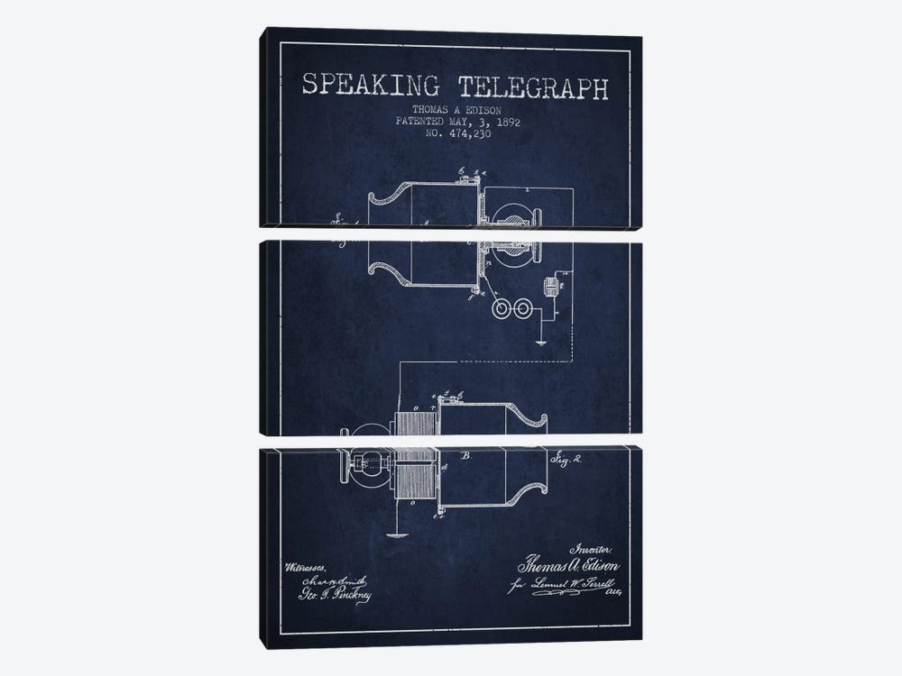 Speaking Tele Navy Blue Patent Blueprint by Aged Pixel 3-piece Art Print