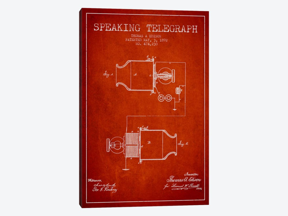 Speaking Tele Red Patent Blueprint by Aged Pixel 1-piece Canvas Art