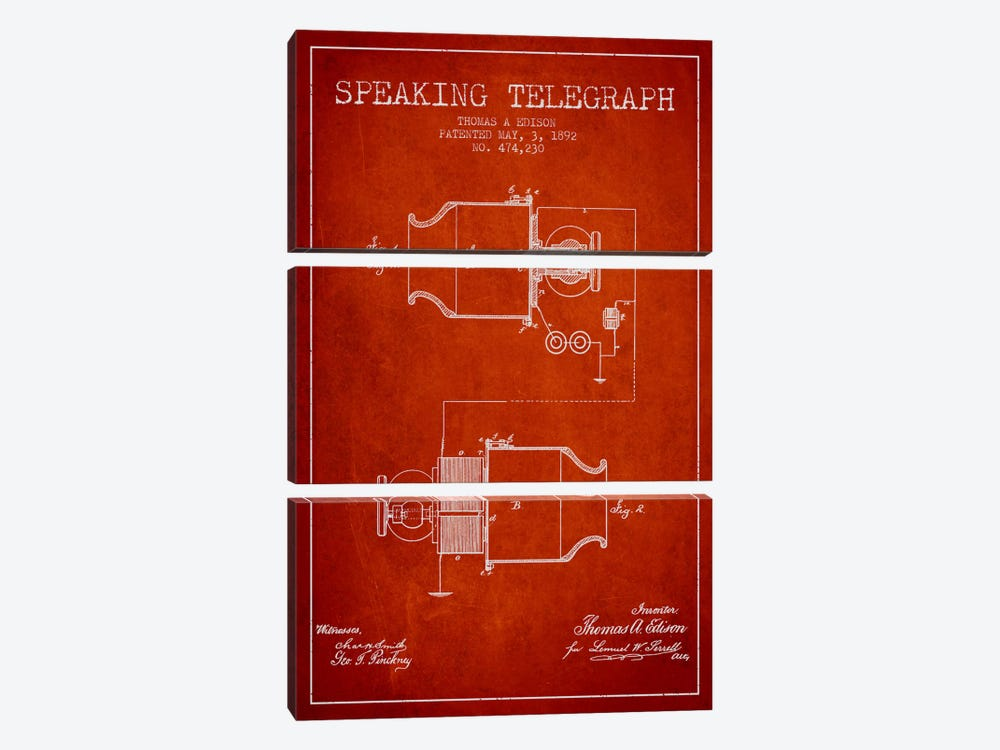 Speaking Tele Red Patent Blueprint by Aged Pixel 3-piece Canvas Wall Art