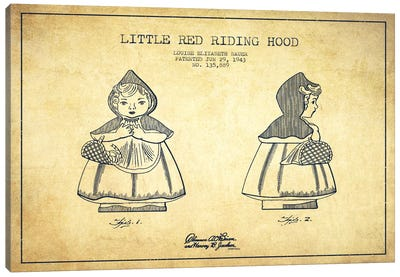 Little Red Riding Hood Vintage Patent Blueprint Canvas Print #ADP60