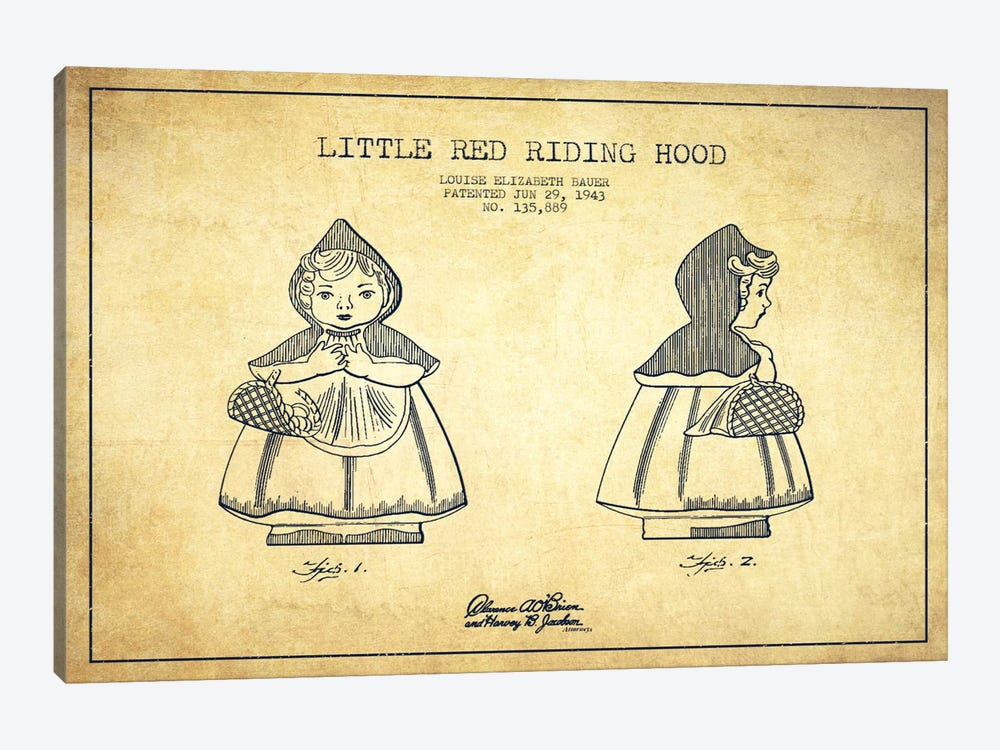 Little Red Riding Hood Vintage Patent Blueprint by Aged Pixel 1-piece Art Print