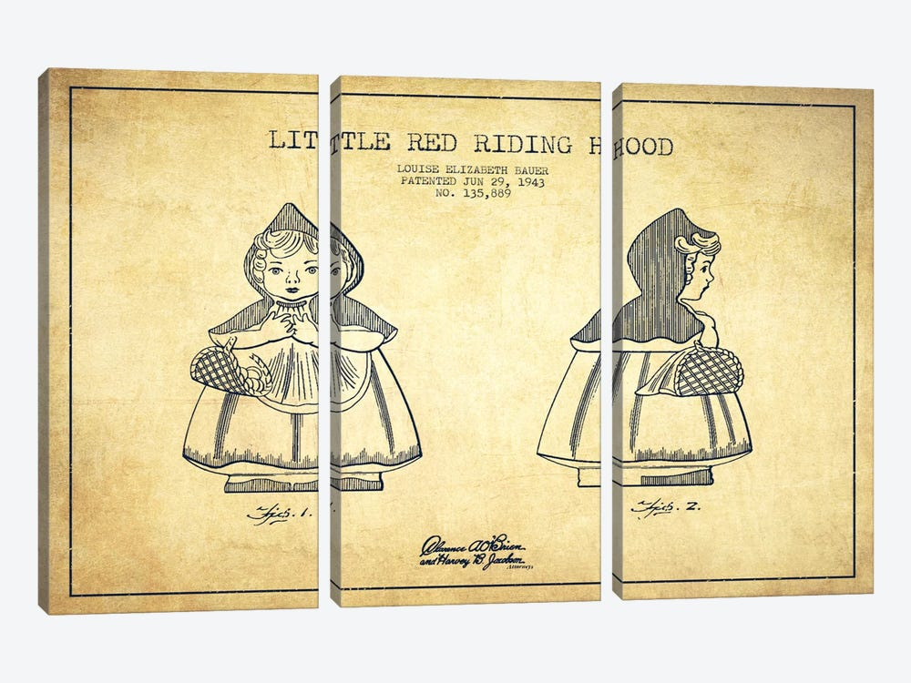 Little Red Riding Hood Vintage Patent Blueprint by Aged Pixel 3-piece Canvas Art Print