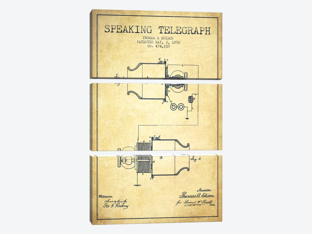 Speaking Tele Vintage Patent Blueprint by Aged Pixel 3-piece Canvas Art
