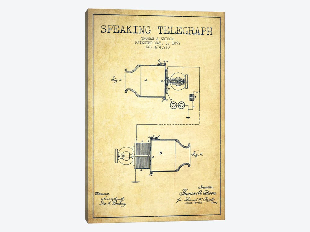 Speaking Tele Vintage Patent Blueprint by Aged Pixel 1-piece Canvas Artwork