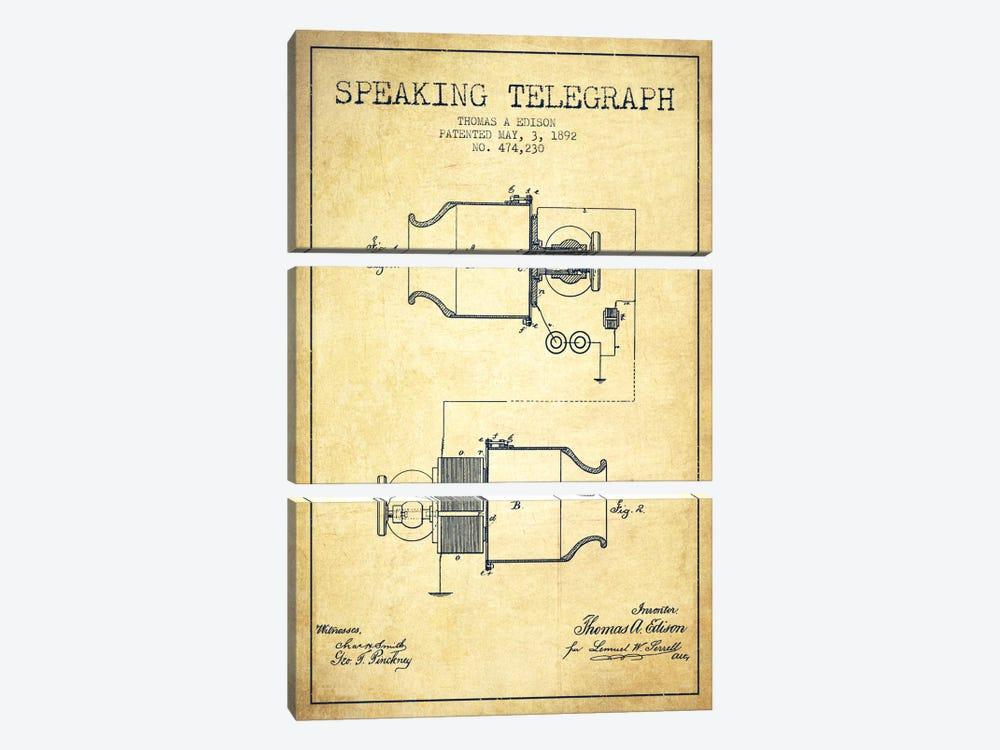 Speaking Tele Vintage Patent Blueprint by Aged Pixel 3-piece Canvas Art