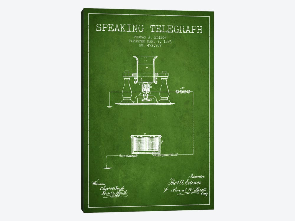 Speaking Tele Green Patent Blueprint by Aged Pixel 1-piece Canvas Wall Art