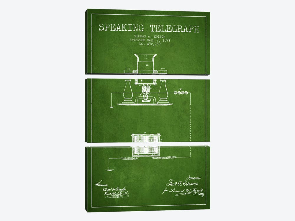 Speaking Tele Green Patent Blueprint by Aged Pixel 3-piece Canvas Art