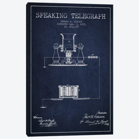 Speaking Tele 2 Navy Blue Patent Blueprint Canvas Print #ADP613} by Aged Pixel Canvas Art