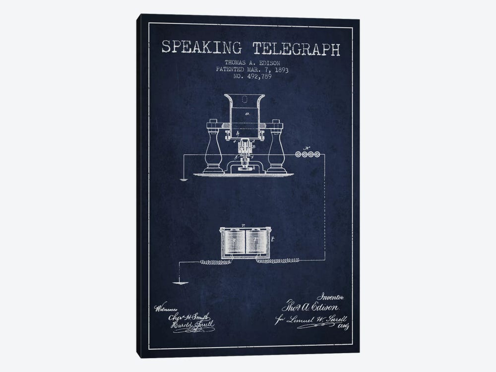 Speaking Tele 2 Navy Blue Patent Blueprint by Aged Pixel 1-piece Art Print