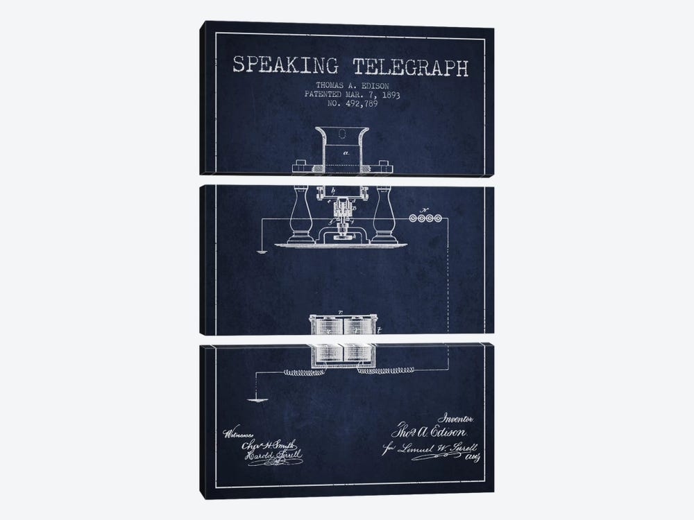 Speaking Tele 2 Navy Blue Patent Blueprint by Aged Pixel 3-piece Art Print