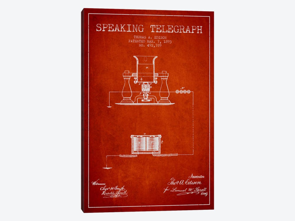 Speaking Tele Red Patent Blueprint by Aged Pixel 1-piece Canvas Wall Art