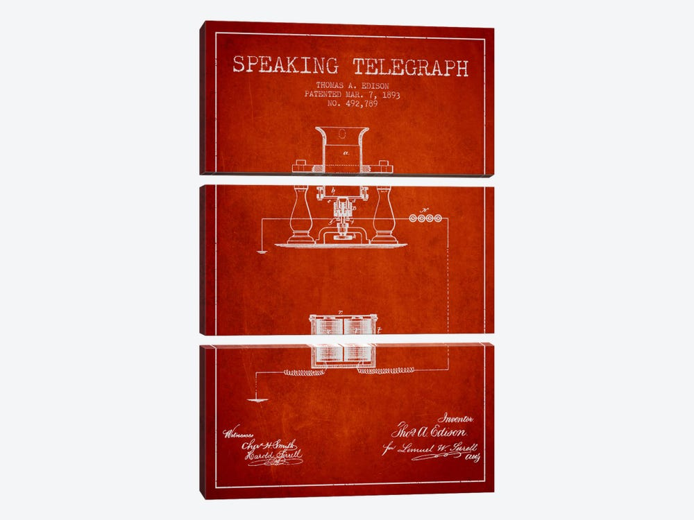 Speaking Tele Red Patent Blueprint by Aged Pixel 3-piece Canvas Artwork