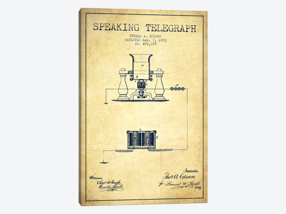 Speaking Tele Vintage Patent Blueprint by Aged Pixel 1-piece Art Print