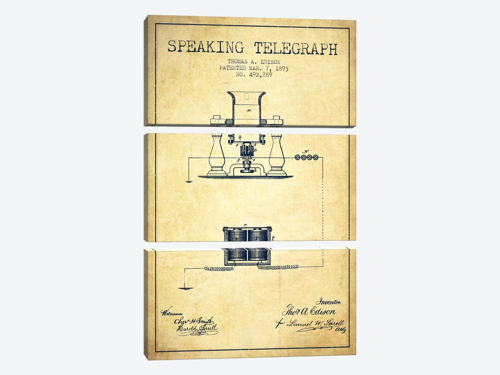 Speaking Tele Vintage Patent Blueprint by Aged Pixel 3-piece Canvas Print