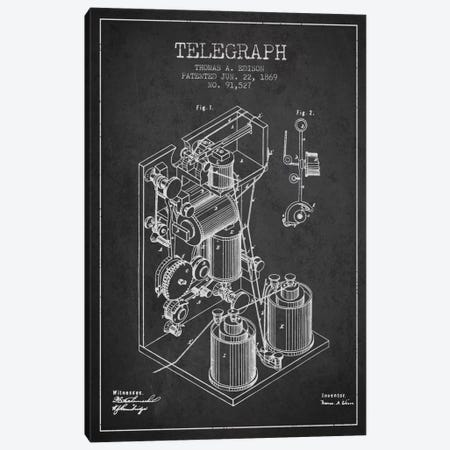 Telegraph Charcoal Patent Blueprint Canvas Print #ADP616} by Aged Pixel Art Print