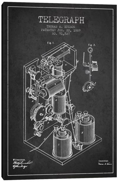 Telegraph Charcoal Patent Blueprint Canvas Art Print