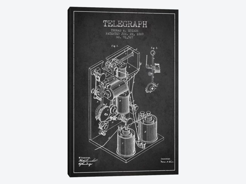 Telegraph Charcoal Patent Blueprint by Aged Pixel 1-piece Canvas Wall Art