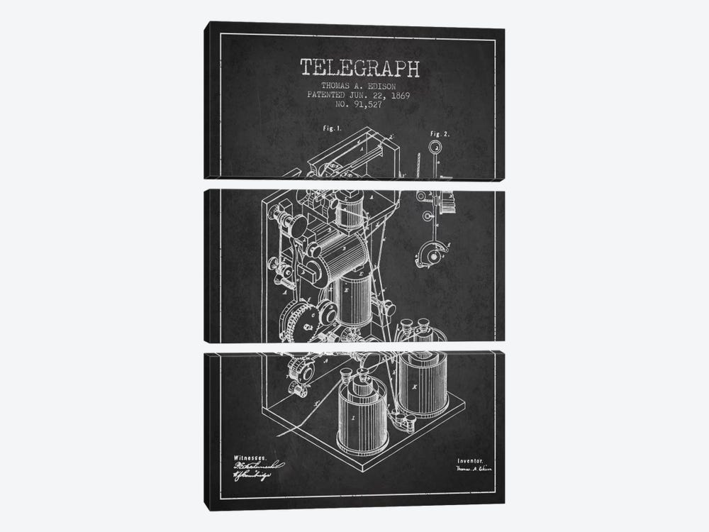 Telegraph Charcoal Patent Blueprint by Aged Pixel 3-piece Canvas Art