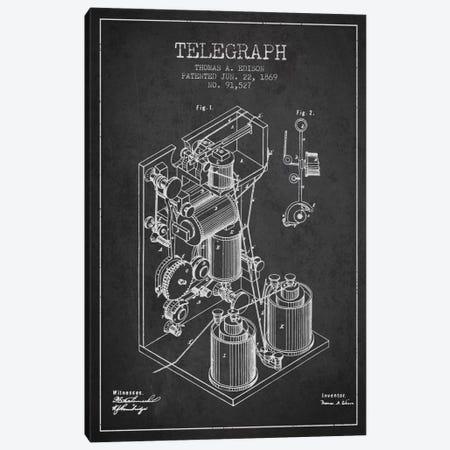 Telegraph Charcoal Patent Blueprint Canvas Print #ADP616} by Aged Pixel Art Print