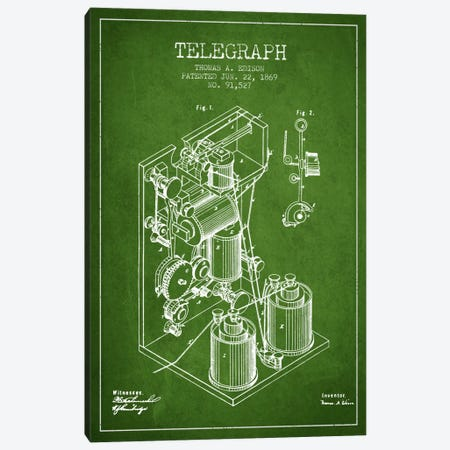 Telegraph Green Patent Blueprint Canvas Print #ADP617} by Aged Pixel Art Print