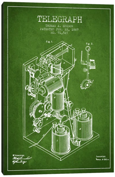 Telegraph Green Patent Blueprint Canvas Art Print