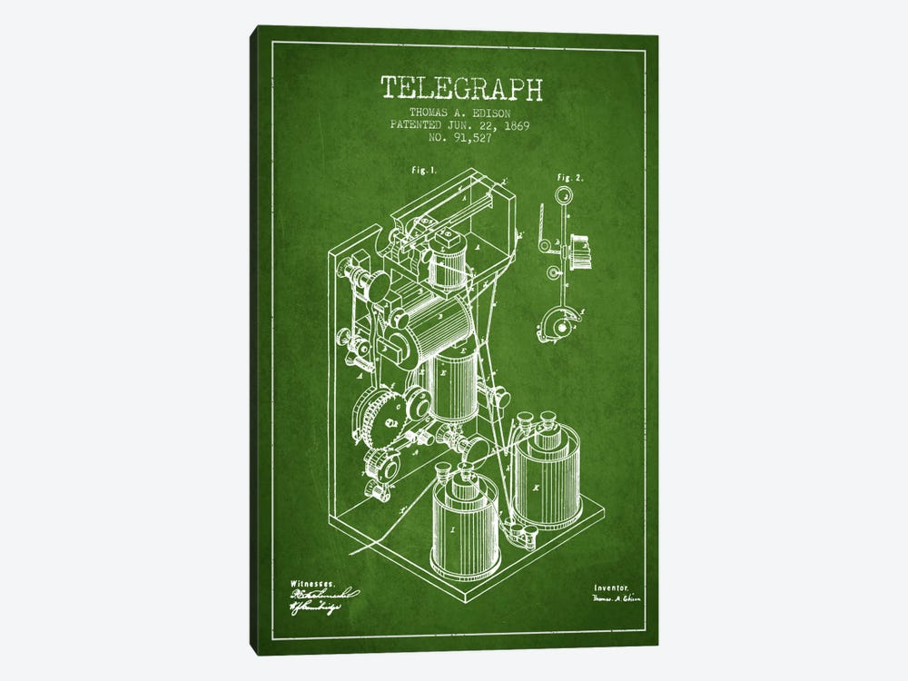 Telegraph Green Patent Blueprint by Aged Pixel 1-piece Canvas Print