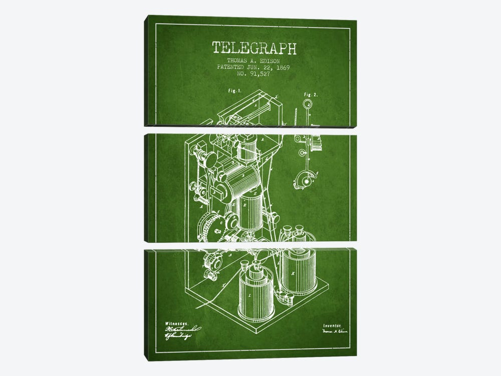 Telegraph Green Patent Blueprint by Aged Pixel 3-piece Canvas Art Print