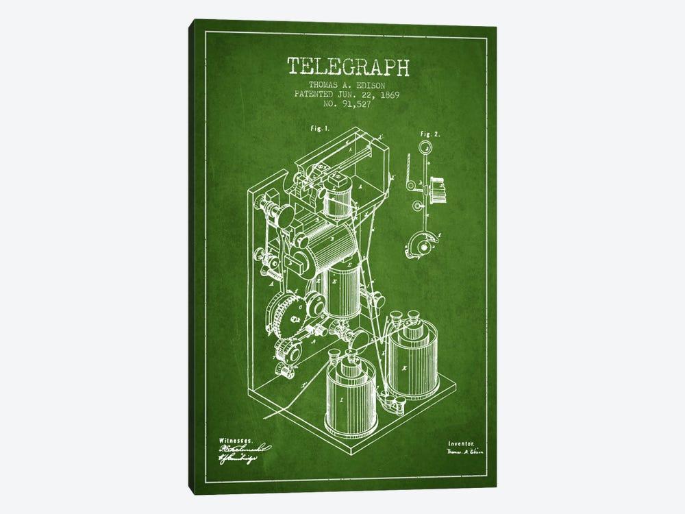 Telegraph Green Patent Blueprint by Aged Pixel 1-piece Canvas Print