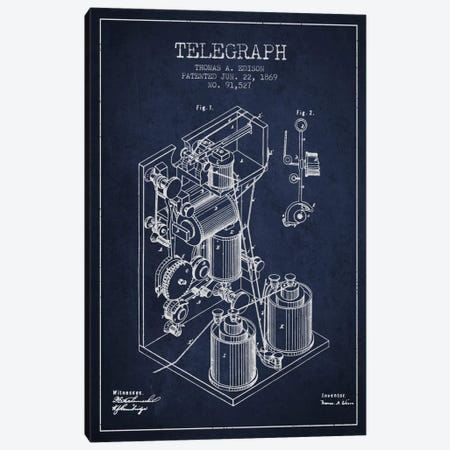 Telegraph Navy Blue Patent Blueprint Canvas Print #ADP618} by Aged Pixel Canvas Art