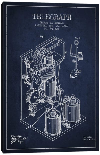 Telegraph Navy Blue Patent Blueprint Canvas Art Print