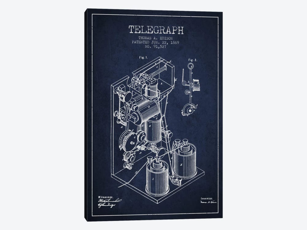 Telegraph Navy Blue Patent Blueprint 1-piece Canvas Wall Art