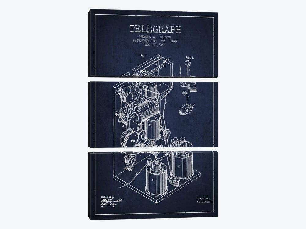 Telegraph Navy Blue Patent Blueprint by Aged Pixel 3-piece Canvas Artwork