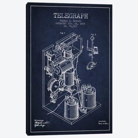 Telegraph Navy Blue Patent Blueprint Canvas Print #ADP618} by Aged Pixel Canvas Art