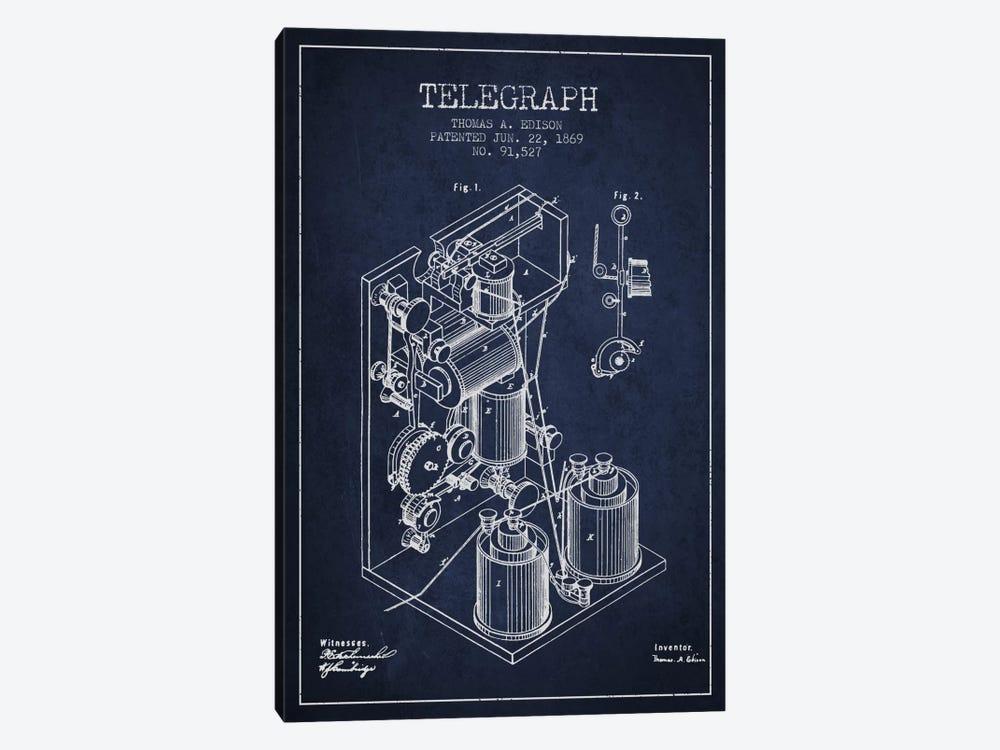 Telegraph Navy Blue Patent Blueprint by Aged Pixel 1-piece Canvas Wall Art