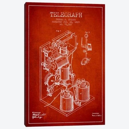 Telegraph Red Patent Blueprint Canvas Print #ADP619} by Aged Pixel Canvas Wall Art