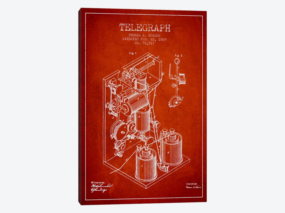Telegraph Red Patent Blueprint by Aged Pixel 1-piece Canvas Art Print